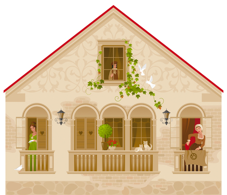 europian: Retro stone house with people in windows, vector illustration. Vintage street architecture, victorian style building, poster template. Cute cartoon beautiful senior and young citizens, kids, adults Illustration