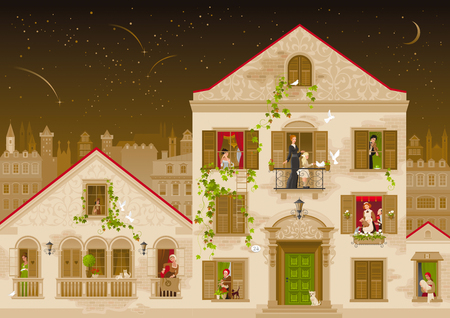 18th century style: Retro stone house with people in windows, vector illustration. Vintage street architecture, victorian style building, poster template. Cute cartoon beautiful senior and young citizens, kids, adults Illustration