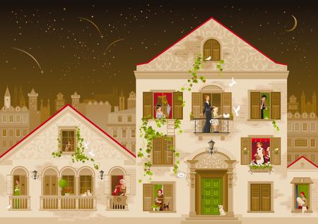 Windows, 벡터 일러스트 레이 션에에서 사람들과 레트로 돌 집. 빈티지 거리 아키텍처, 빅토리아 스타일 건물, 포스터 템플릿. 귀여운 만화 아름다운 고위