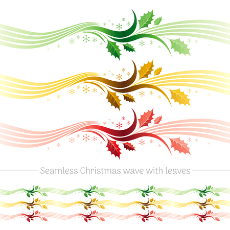 Merry Christmas seamless holiday vector illustration in modern elegant style with green holly leaves, berry. Abstract template, snowflake, wave pattern on white background. Illustration