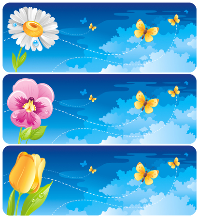 springtime: Spring banner set. Easter, Mothers day, Birthday, Wedding invitation. Daisy, pansy, tulip flower, butterfly, blue sunny sky. Isolated modern vector illustration. Happy springtime greeting card border