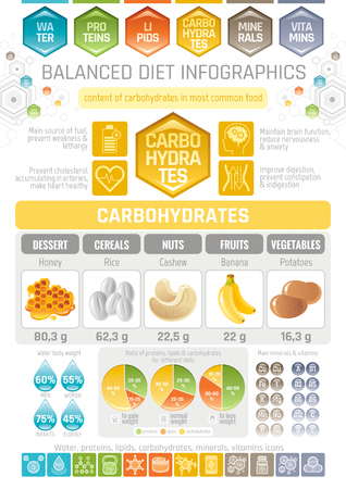 carbohydrates: Carbons diet info-graphic diagram poster. Water protein lipid carbohydrate mineral vitamin flat icon set.