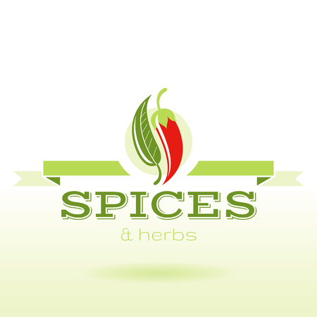 Spices and herbs logo text lettering, flat modern vector illustration. Bay leaf, chili pepper icon