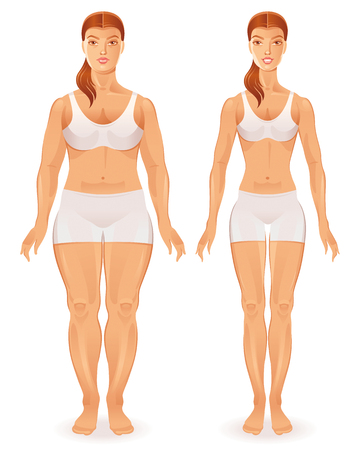 Fat and slim woman figures Illustration