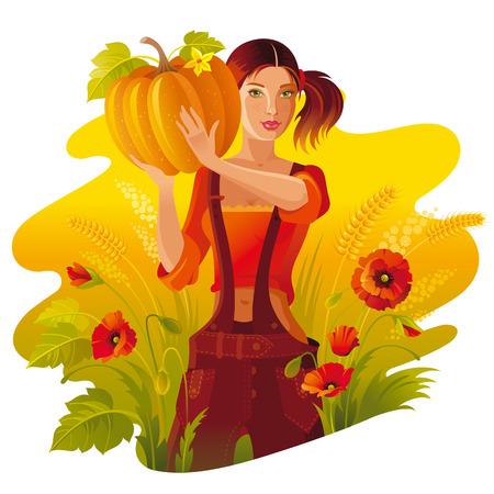 thanksgiving day symbol: Paesaggio di ringraziamento autunnale. Giovane donna con la raccolta - zucca, verdura. Campo di campo di caduta, fiori di papavero. Banner di raccolta di bestiame.