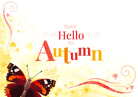 admiral: Vector autumn background with admiral butterfly insect, yellow leaf, abstract wave line, swirl, natural logo, copy space. Seasonal vector illustration in abstract modern style with text lettering. Illustration