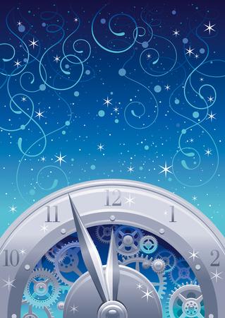horologe: Vintage clock elements on color background - clockwork , cogwheels, minute, hour hands. Christmas and New Year eve template. Illustration