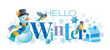 Hello Winter text lettering logo. Vector illustration cristmas and new year symbols, cartoon cute snowman, tit, house.