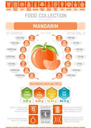 lipid a: Food infographics poster, mandarin fruit vector illustration. Healthy eating icon set, diet design elements, vitamin mineral supplement chart, protein, lipid, carbohydrates, diagram flat flyer banner