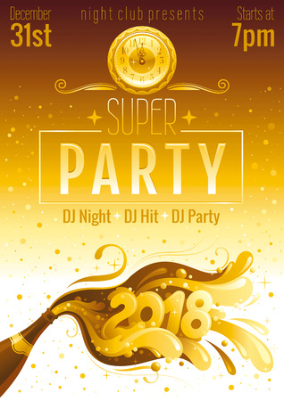 New Year 2018 vector banner with sparkling champagne, bottle with bubbles. Alcohol drink concept illustration. Night sky background. Party invitation design. Club poster template. Luxury golden color