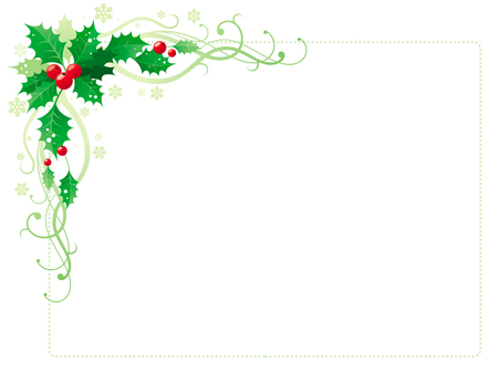 Merry Christmas and Happy new Year corner horizontal border banner with holly berry leafs. Isolated on white background. Abstract poster, greeting card design template. Vector illustration