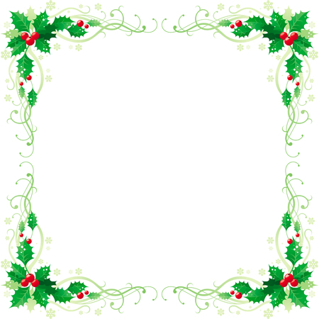 Merry Christmas and Happy new Year square corner banner frame border with holly berry leafs. Isolated on white background. Abstract poster, greeting card design template. Vector illustration