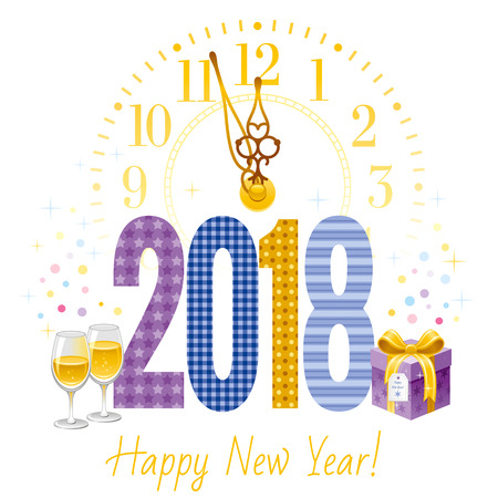 Happy New Year 2018 Text Icon. Vector Poster With Clock, Wine ...