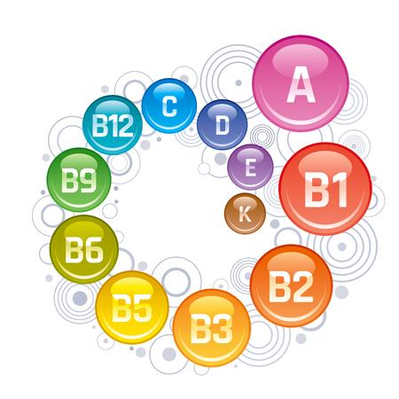 Multi Vitamin complex icons. Vitamin A, B group - B1, B2, B3, B5, B6, B9, B12, C, D, E, K multivitamin supplement logo, isolated white background. Vector illustration. Archivio Fotografico - 95928227