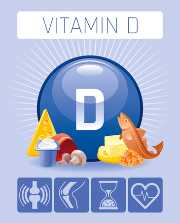 Cholecalciferol Vitamin D food Infographic poster Vectores