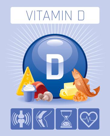 Cholecalciferol Vitamin D food Infographic poster Illustration