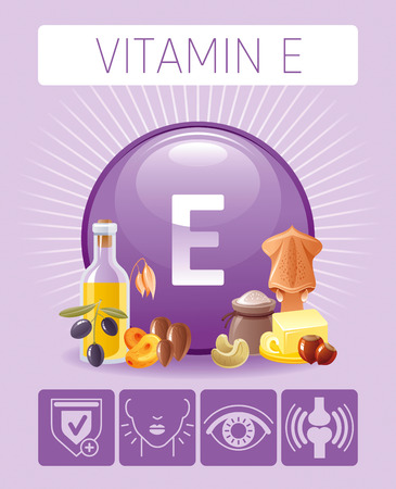 Vitamin E Tocopherol nutrition food Infographic poster  イラスト・ベクター素材