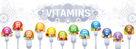 Mineral Vitamin multi supplement icons. Multivitamin complex flat vector icon set, logo isolated white background. Table illustration medicine healthcare chart Diet balance medical Infographic diagram Logo