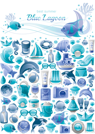 Summer sea travel banner pattern. Repeat wallpaper vector background. Trendy hipster vacation icon set illustration. Monochrome ocean, killer whale, plane, moon, wave, paper boat, seashell, pearl