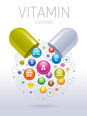 Medical vitamin, mineral background. Multivitamin complex of pill capsule, color vitamins bubbles moving down with names for dietary supplement and healthy lifestyle.