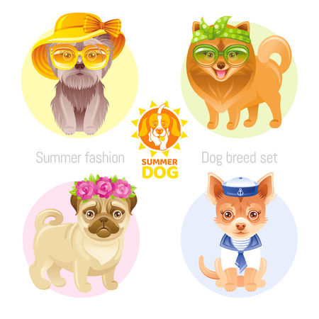 Summer fashion puppy dog icon set in sweet retro clothes. Terrier, pomeranian spitz, chihuahua, pug breed. Cartoon vintage vector illustration isolated white background. Ilustração