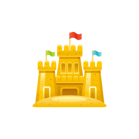 Vector illustration, isolated on white background. Realistic vacation travel symbol, fun, play toy concept, 3d sand castle with fortress. Cartoon cute sea beach icon, flat sign