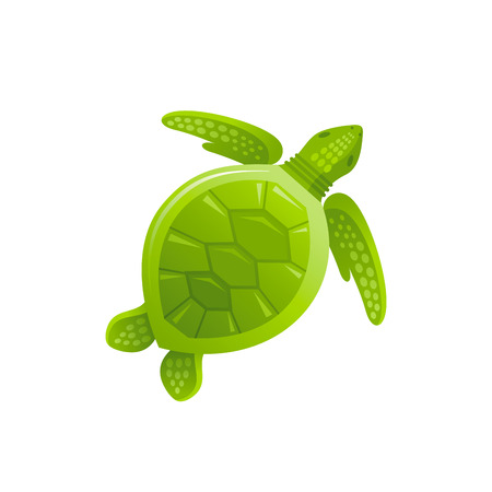 Vector illustration, isolated on white background. Realistic sea animal symbol, 3d swimming sea turtle. Tropical underwater aquatic creatures, cartoon cute icon. Summer travel flat sign.