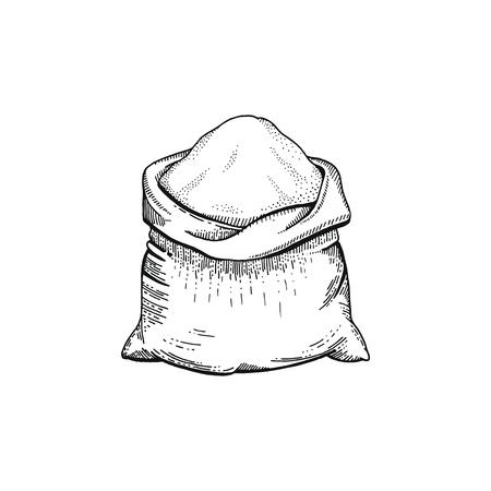 Ilustración de vector de mano dibujar bolsa con harina, pan esbozado concepto. Dibujo de arte de línea negra, cultivo de orejas aislado sobre fondo blanco. Gráficos de ingredientes alimentarios con gluten. Grabado retro vintage icono