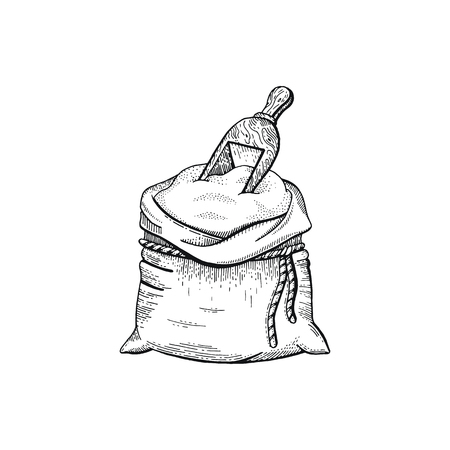 Vector illustration of hand draw bag with flour, bread sketched concept. Black line art drawing, ear crop isolated on white background. Gluten food ingredient graphics. Engraving retro vintage icon  イラスト・ベクター素材
