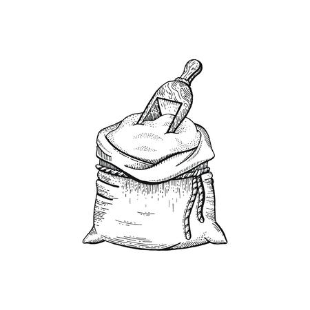 Ilustración de vector de mano dibujar bolsa con harina, pan esbozado concepto. Dibujo de arte de línea negra, cultivo de orejas aislado sobre fondo blanco. Gráficos de ingredientes alimentarios con gluten. Grabado icono vintage retro