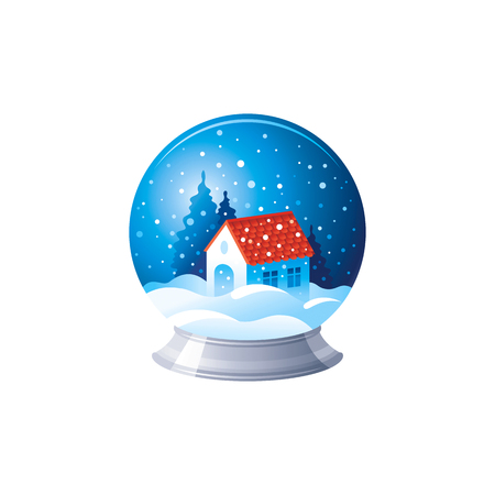 Vector illustration of 3d realistic Xmas symbol. Cute glass snow ball with magic house. Merry Christmas and winter holiday icon isolated on white background. Flat retro design element, cartoon symbol Vetores