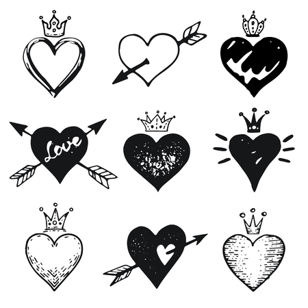 Heart set, hand drawn doodle sketch style. Handdrawn illustrations by brush, pen, ink. Cute crown, arrow, stars symbols. Vector drawing for Valentine s day design, logo, card and more.