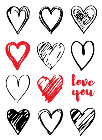 Valentine s day card design with hearts, Love you slogan. Vector illustration set for poster, gift tag, greeting card, t-shirt priny. Trendy hand drawn doodle style, cool icon set isolated on white