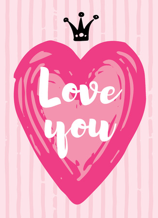 Valentine s day card love design with heart quote. Cute doodle hand drawn vector illustration for romantic poster, greeting banner etc. Trendy line art style with watercolor pink black ink line. Illustration