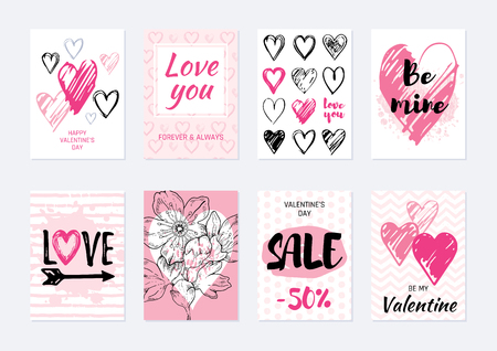 Valentine s day card design set. Poster with heart, sakura flower, slogan. Vector illustration for greeting gift tag, t shirt print. Trendy hand drawn doodle style, cool flyer template, white isolated Illustration