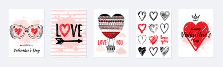 Valentine s day card design set. Posters with hearts, air balloon, slogan. Vector illustration for greeting gift tag, t shirt print. Trendy hand drawn doodle style, cool flyer template, white isolated