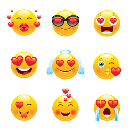 Love emoji icon set. 3d happy sad face smile symbol kiss, angel, crying, sunglasses, tongue, laugh. Cute cartoon social network sign sticker. Smiley vector illustration isolated white background
