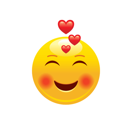 Heart emoji couple icon. 3d face smile for love chat, message design Realistic symbol for Valentine s day kiss sticker. Cute cartoon social network sign. Vector illustration isolated white background. Banco de Imagens - 117071033