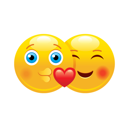 Heart emoji couple icon. 3d face smile for love chat, message design Realistic symbol for Valentine s day kiss sticker. Cute cartoon social network sign. Vector illustration isolated white background.