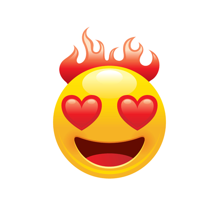 Burn fire emoji icon. 3d face smile for love chat, message design Realistic symbol for Valentine s day sticker. Cute cartoon social network sign. Vector illustration isolated white background. Banco de Imagens - 117071041