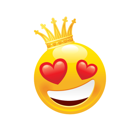 Emoji in crown icon. 3d face smile for love chat, message design Realistic symbol for Valentine s day sticker. Cute cartoon social network sign. Vector illustration isolated white background. Иллюстрация