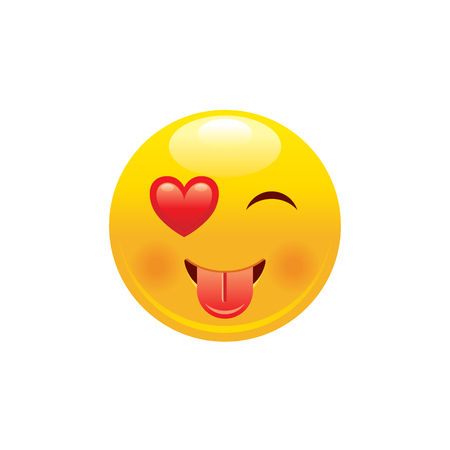 Heart emoji icon. 3d wink face smile with tongue for love chat message design. Realistic sexy happy symbol, sticker. Cute cartoon social network sign. Vector illustration isolated on white background. Illustration