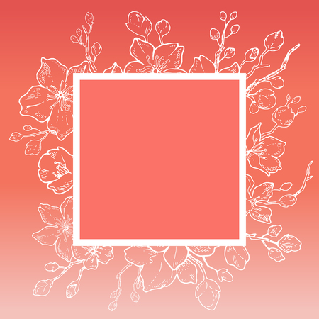 Sakura 2019 flowers blossom card, living coral, hand drawn line ink style. Cure doodle cherry plant vector illustration, pink background. Realistic floral spring japanese, chinese holiday