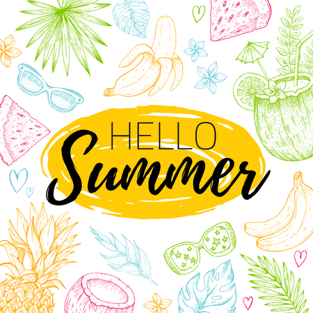 Hello Summer card poster with text, tropic leaf seamless pattern. Hand drawn doodle flyer with summertime symbols paradise element for party invitation, print design. Vector illustration background Illustration