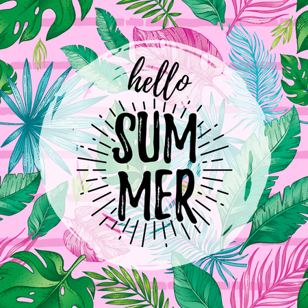 Hello Summer card poster with text, tropic leaf seamless pattern. Hand drawn doodle flyer art with summertime symbol, paradise element for party invitation, print design. Vector pink stripe background