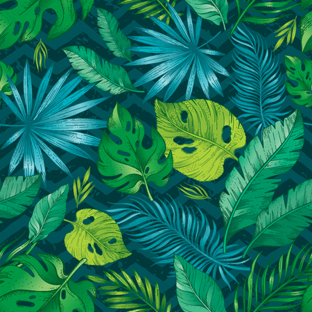 Tropic palm leaf seamless pattern. Tropical nature hand drawn sketch illustration. Exotic rainforest summer, spring background with navy green jungle leaves trendy dark blue zig zag print.