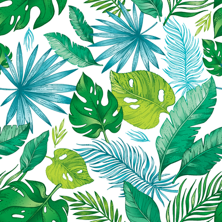 Tropic palm leaf seamless pattern. Tropical nature hand drawn sketch illustration. Exotic summer, spring trendy background. Green jungle leaves isolated on white. Fresh hawaiian exotic forest print