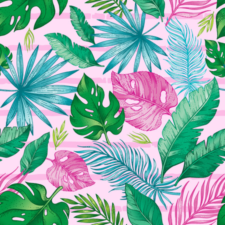 Tropic palm leaf seamless pattern. Tropical nature hand drawn sketch illustration. Exotic summer, spring trendy background with green jungle leaves pink red stripes. Feminine print for woman fabric Illustration