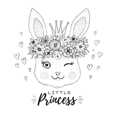 Cute kawaii bunny rabbit face in princess crown, flower wreath. Spring happy baby girl. Doodle drawn sketch. T-shirt design, apparel fashion print, coloring book. Cartoon vector illustration isolated Illustration