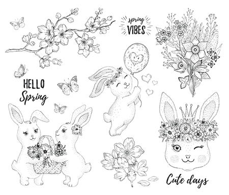 Hello Spring bunny set. Cute rabbit, , bloom element. New trend sticker collection. Line art design. Doodle hand drawn vector illustration. Cool springtime child coloring book, tee shirt print, card Illustration